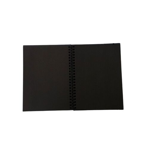 Wirebound All Black Pad A4 200gm - 40 Sheets